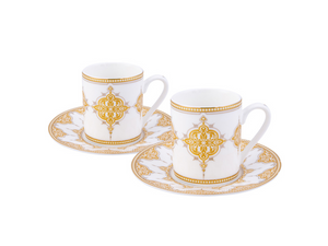Porcelain Turkish Coffee Cup Set | White & Gold (6 Pieces) Coffee Cups Turkish Coffee Bazaar