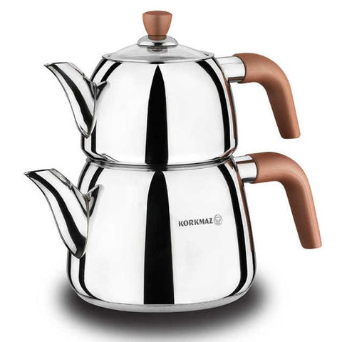 Stainless Steel Turkish Tea Pot | Korkmaz Vita Tea Pots Turkish Coffee Bazaar