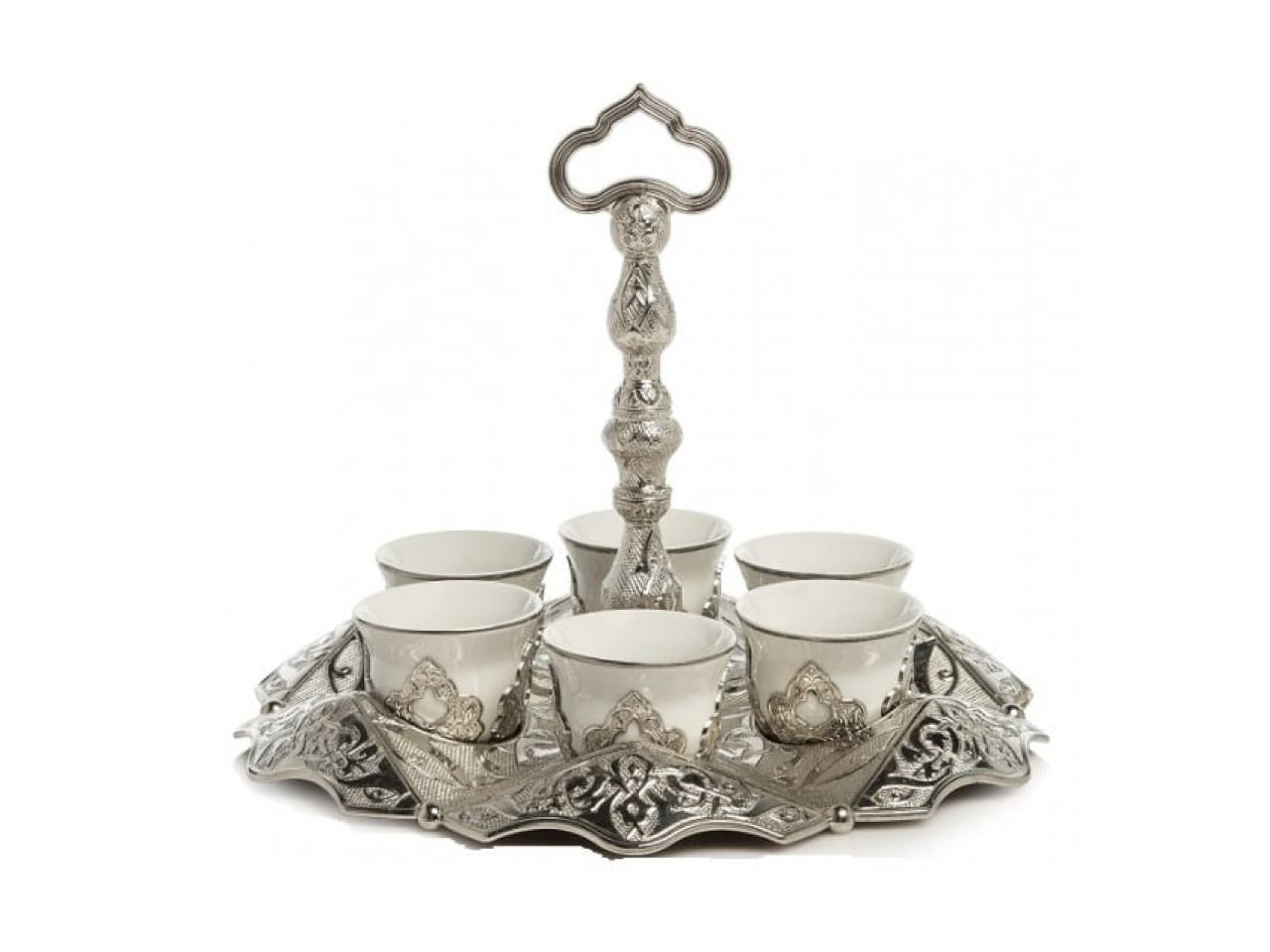 Turkish Mirra Coffee Cup Set | Silver (6 Pieces) Coffee Cups Turkish Coffee Bazaar