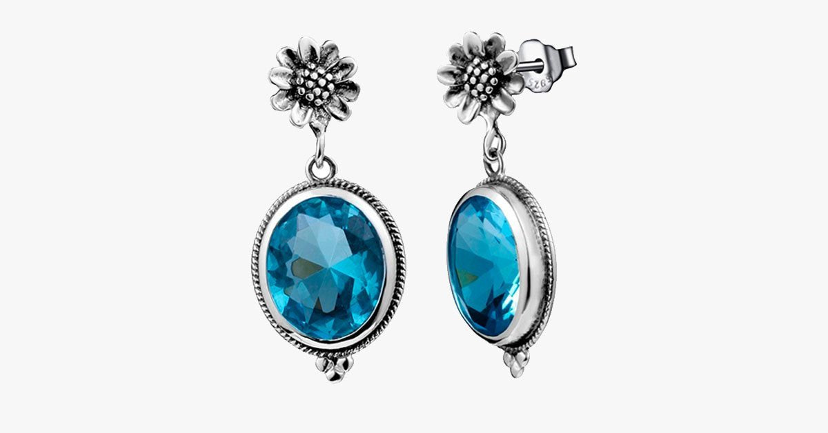 Vintage Aquamarine Flower Earring
