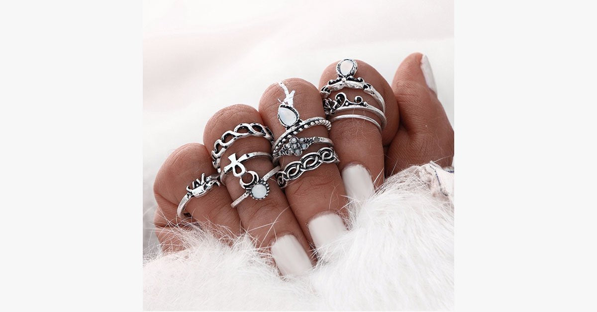 Vintage Flower Midi Rings 10pcs Set