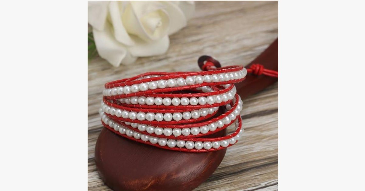 White Pearl on Red Leather Bracelet