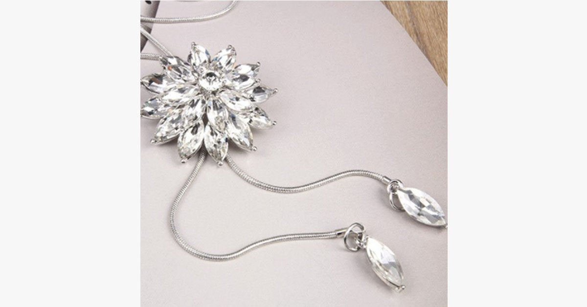 White Crystal Sunflower Tassel Long Necklace - Metallic Link Chain Crystal Simulated Necklace for a sophisticated Look