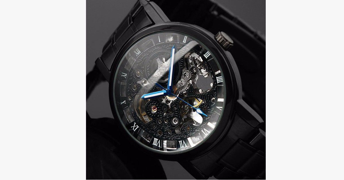 Men's Black Skeleton Wrist Watch