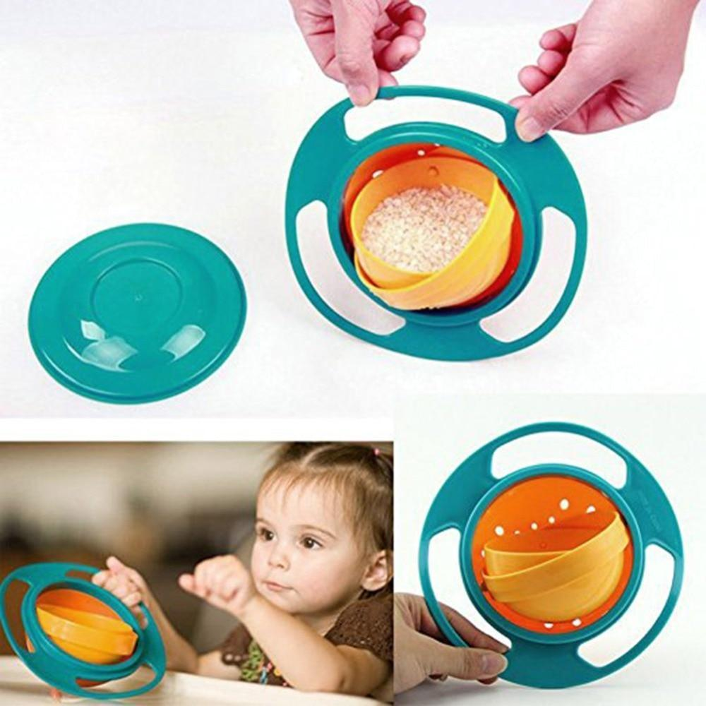 360 Rotate Spill Proof Plastic Bowl