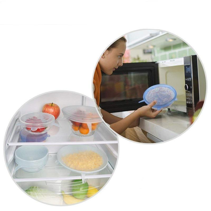 6 pieces Reusable Silicone Lids
