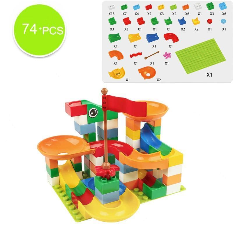 74-296 PCS Marble Maze Ball Track Building Duplo Style Blocks