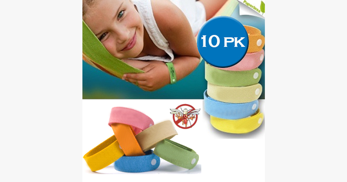Effective Mosquito Bands- Pack of 10 in Assorted Colors