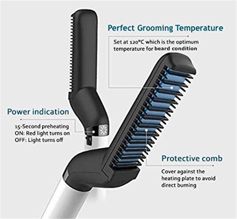 Professional Heated Beard Straightener Comb & Hair Styler - Heated Beard Prick