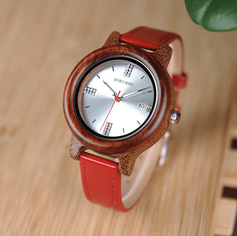 Womens Wooden Watch (Pink or Red) With Date Display
