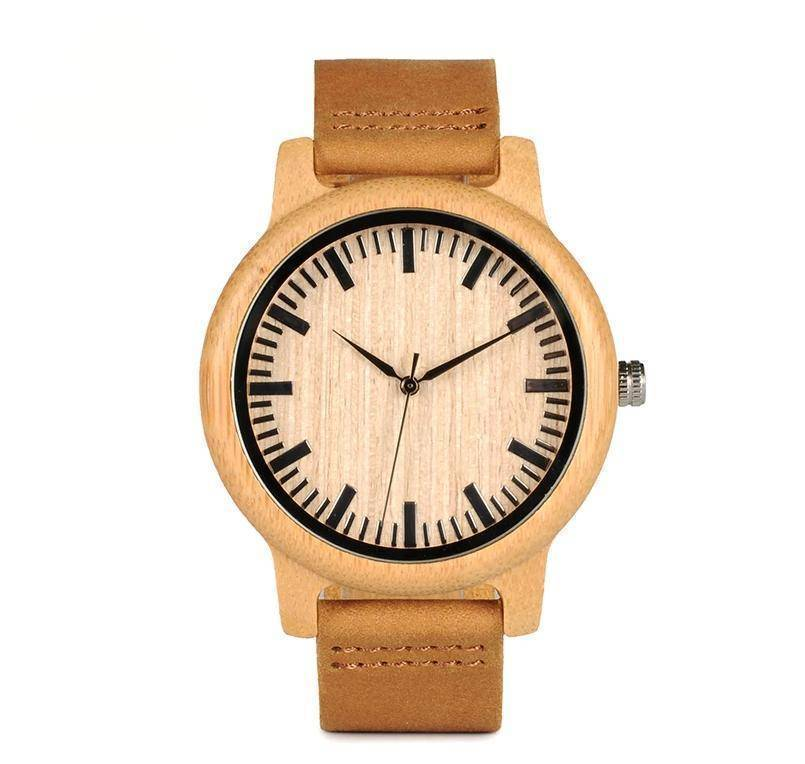 Mens Watch Wooden Bamboo Wristwatch with Leather Strap