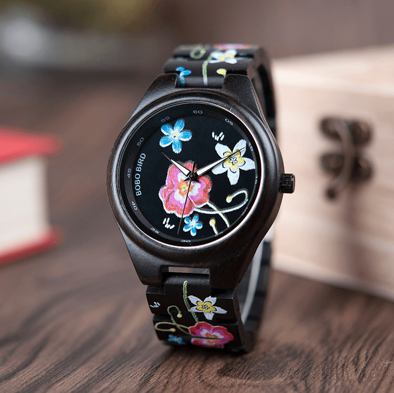 Bamboo Wooden Watch for Women With Embroidered Face