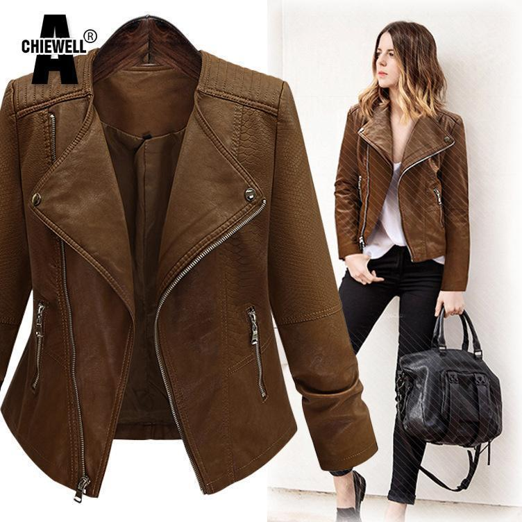 ACHIEWELL Long Sleeve Leather Jacket