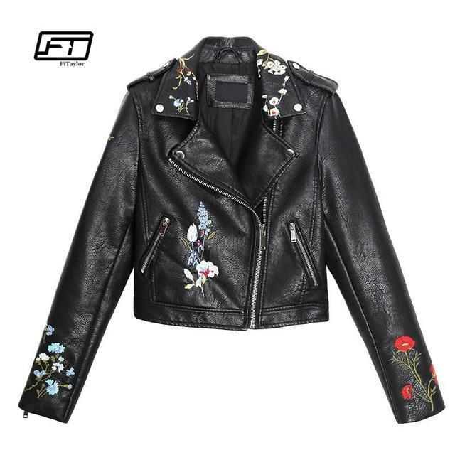 Women Embroidery Faux  Leather Jacket