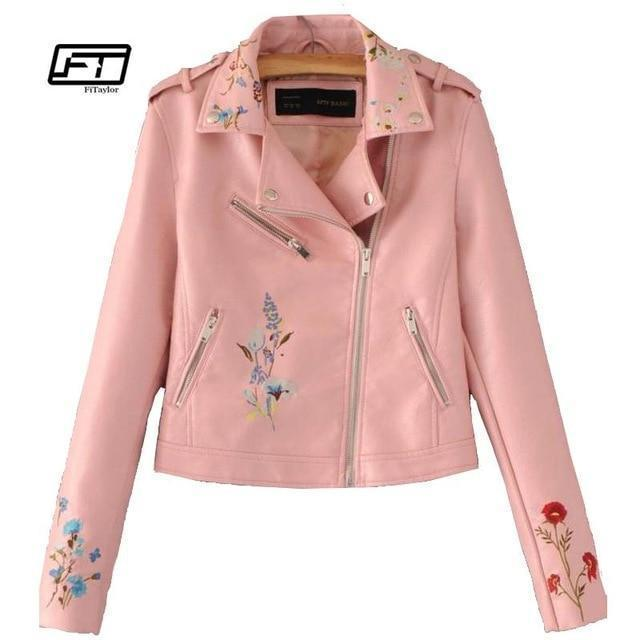 Embroidered Bomber Faux Leather Jacket