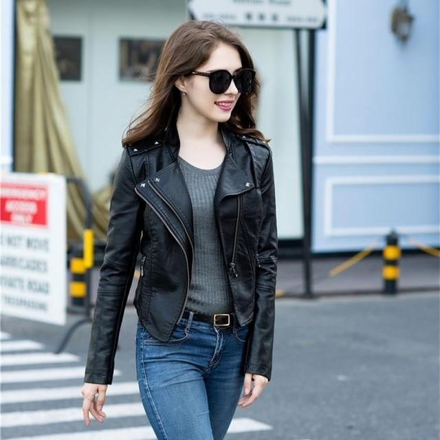 2018 Black Leather Motorcycle Biker Jacket