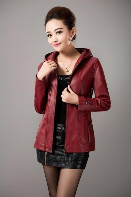 2018 New Spring Womens Hooded Leather Jackets