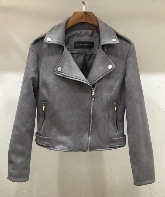 Soft Faux Leather Suede Motorcycle jacket Slim brown