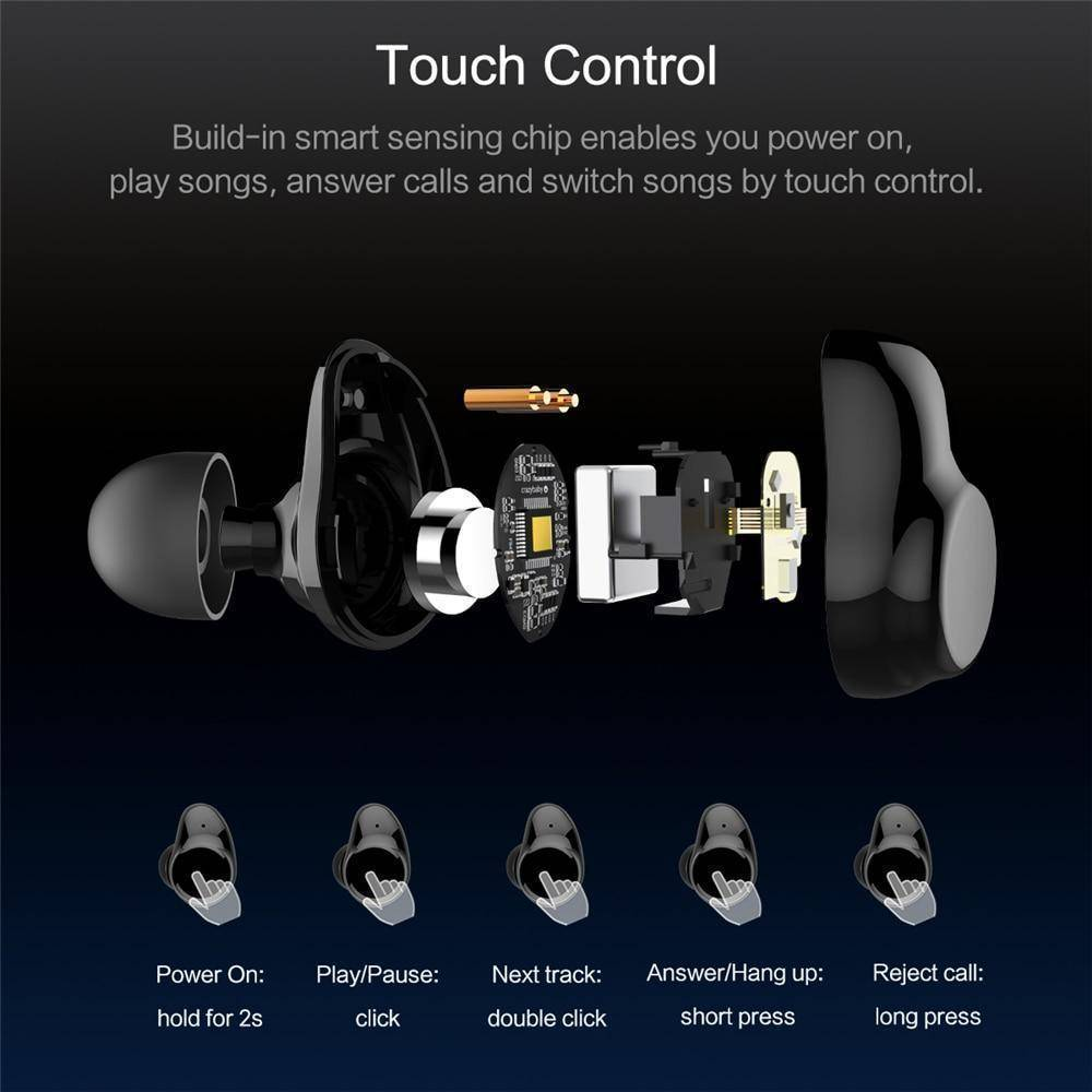TWS True Wireless Bluetooth Earbuds Touch Control and Charging Case