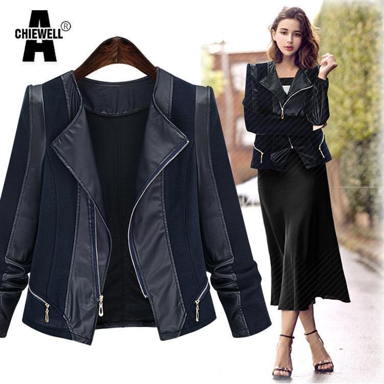 Plus Size Autumn Women Pu Leather Jacket Coat