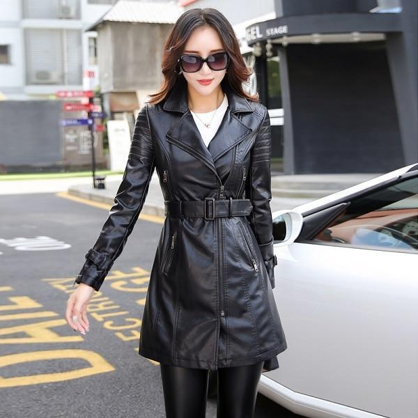 Long Sleeve Patchwork PU leather Jackets