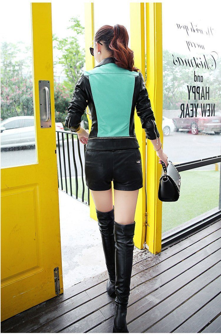 Patchwork color women leather jacket