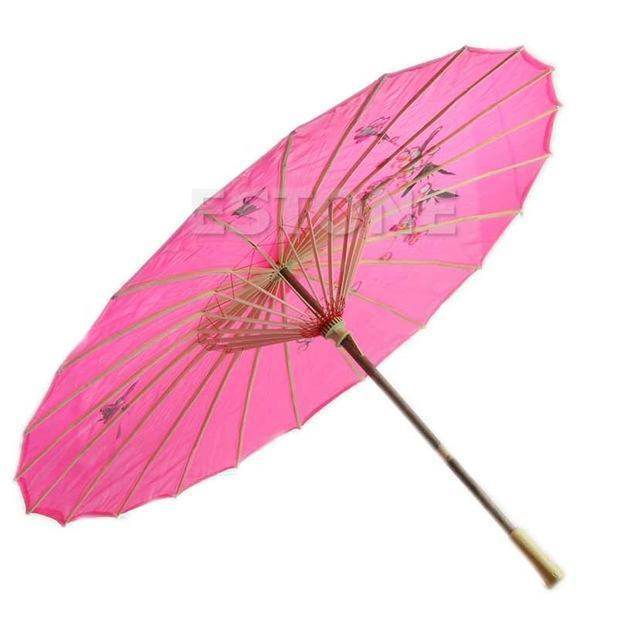 Art Deco Painted Parasol Umbrella