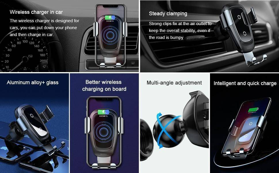 Qi Wireless Gravity Car Charger for iPhone and Samsung