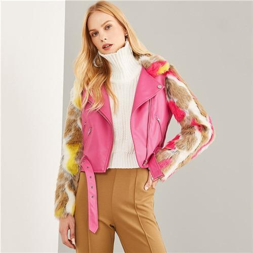 Hot Pink Faux Fur Sleeve Belted PU Leather Outerwear 2018