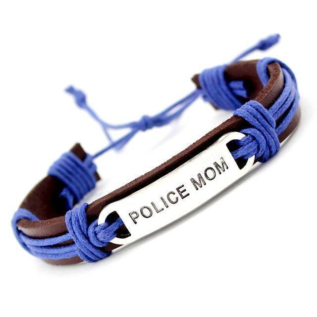 Police Officer Support Bracelet - Leather Wrap