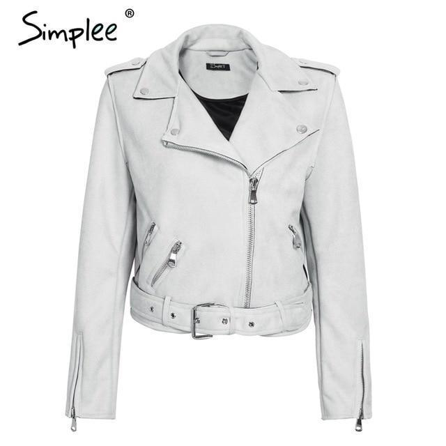 Simplee Leather Suede Faux Leather Jacket