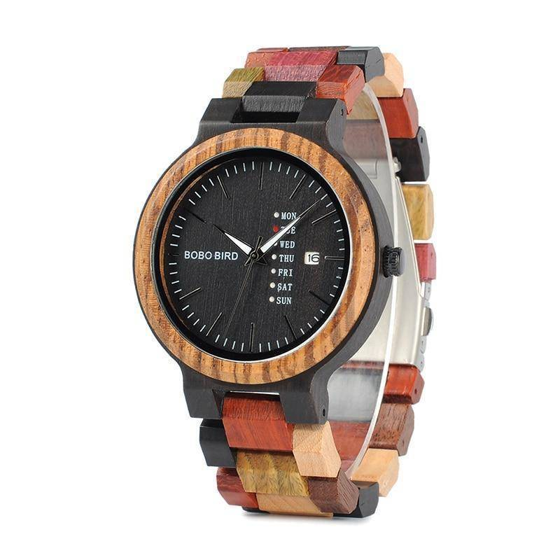 Mens Wooden Watch With Week Date Display in Wood Gift Box
