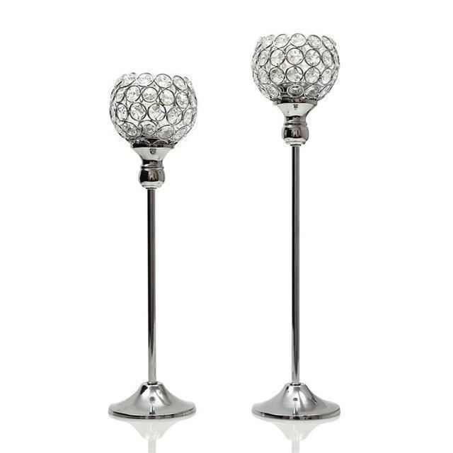 Pair Silver Crystal Vintage Candle Holders Stand Metal Candlesticks Wedding Table Centerpieces Christmas Home Party Decoration