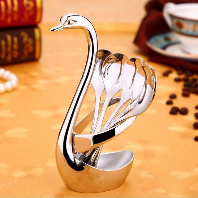 Exquisite Service Serving Snacks Fruit Fork Swan Holder Dinnerware Set