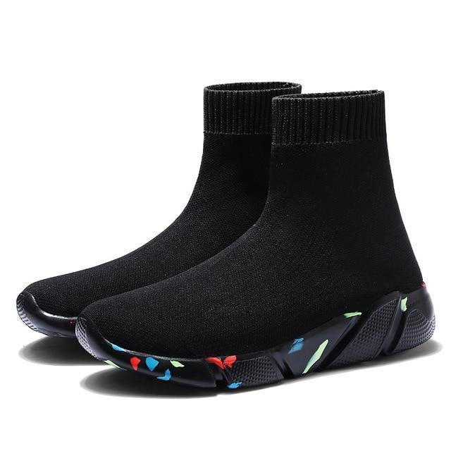 Light High Top New Breathable Flying Socks Shoes Sports Stretch Sneakers