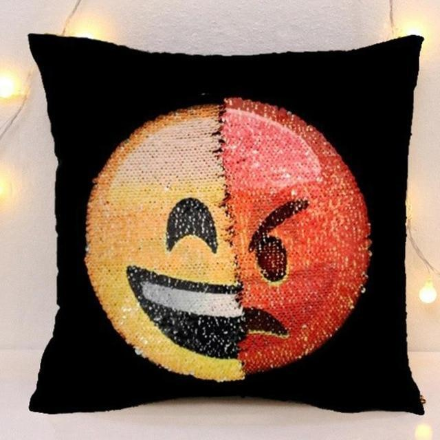 Face Changing Emoji Sequin Pillow, Emoji Sequined Cushion Covers
