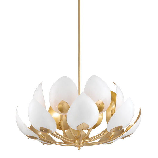 Medium Gold Leaf/White Chandelier