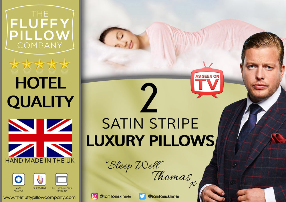 2 Luxury Hotel Quality Satin Stripe Pillows