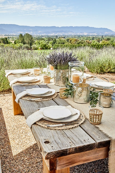 Table set for lunch with Rattan Platemats