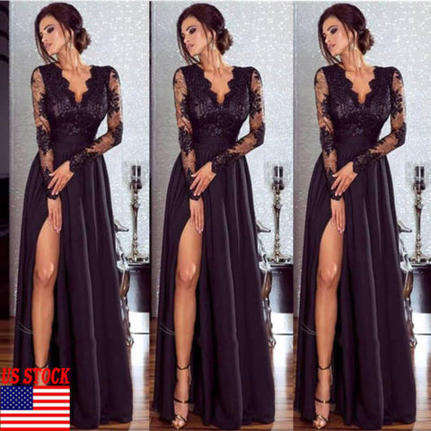 2019 Women Ruffle Long Maxi  Sexy Dress  (2)