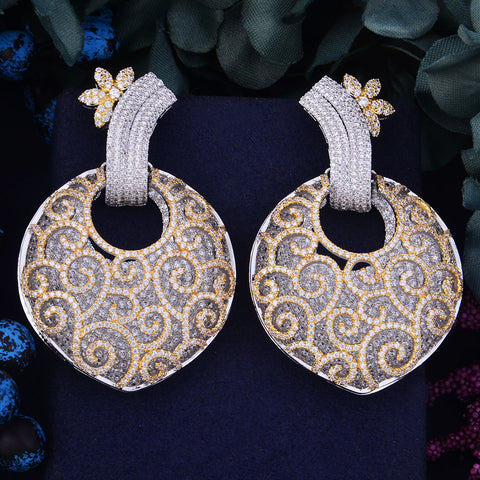 Full Micro Cubic Zirconia Naija Engagement Party Africa Dress Earring