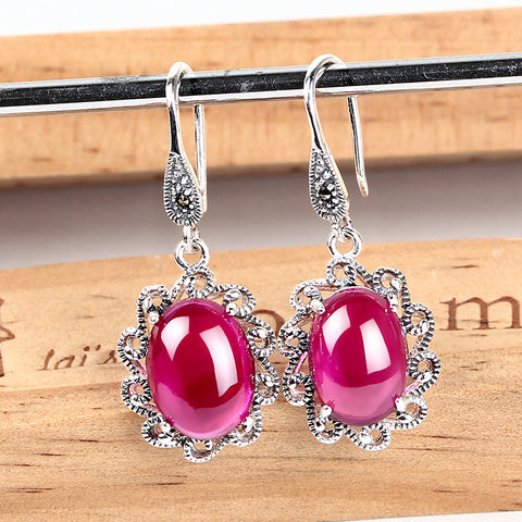 S925 pure silver  eardrop Thai mark the restoring ancient ways ms Thai silver earrings