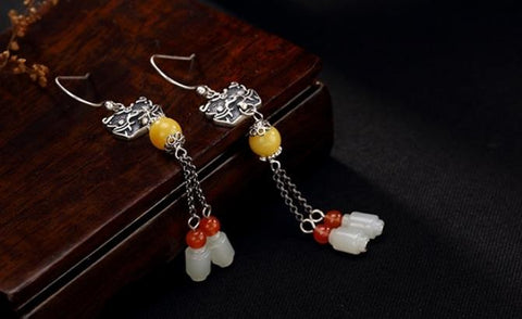 Sterling S925 925 silver Drop Earrings beeswax natural stone vintage trendy for woman earring 55MM