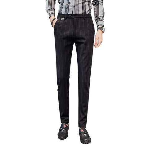 2019 autumn new men's formal business casual plaid trousers
