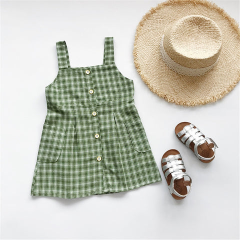 Girls Summer Dress Green Baby Kids Fashion
