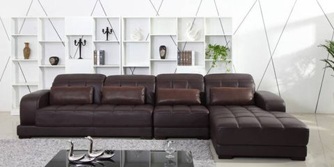 Coffee Color Top Grain Leather Sofa 3.7M length