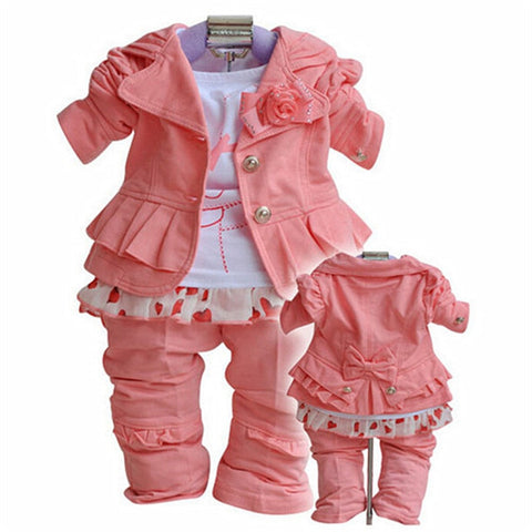 Spring Autumn Baby Girl Coat Pants Suit