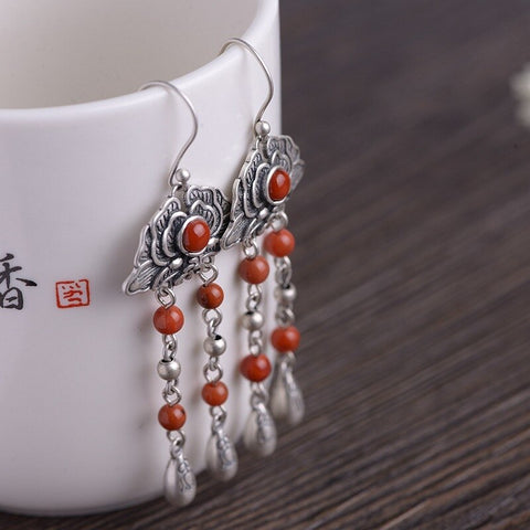 restoring ancient ways female classical fashion for riches and honour flowers tassel earrings silver earrings wholesale