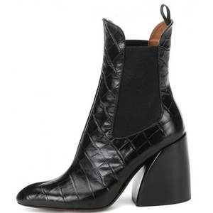 City Girl Leather Crocodile Ankle Boots