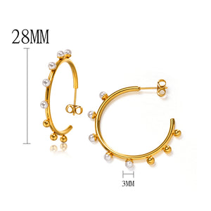High Hoops Pearl Earrings